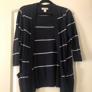 3/$15 Blue and White Open-Front Cardigan